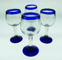 Wine Glasses hand blown 10 oz Blue Rim, Tulip Shape 4 made in Mexico