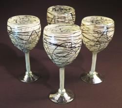 Wine glass hand blown 14oz White Confetti w Chocolate swirls 4