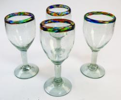 Wine Glass Hand Blown Confetti Rim 12oz set of 4