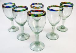 Wine glasses hand blown Confetti Rim 12oz set of 6