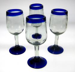 Wine Glasses hand blown 11oz  Blue Rim tulip 4 made in Mexico