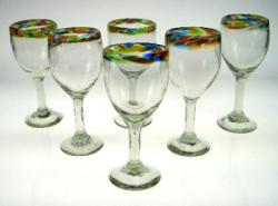 wine glasses confetti rim 8oz Mexico set of 6