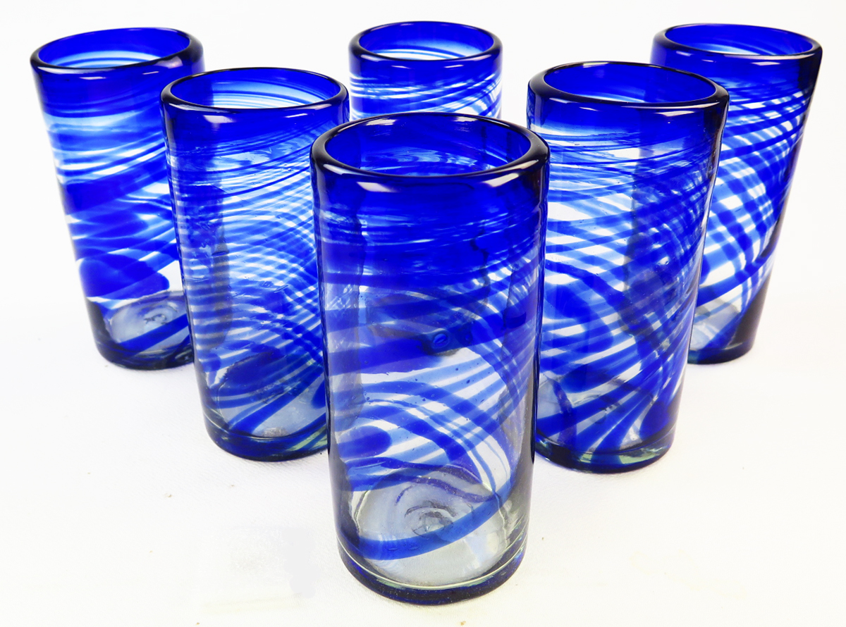 Drinking Glasses, Blue Swirl, 20oz, Made In Mexico With