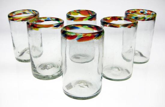 Drinking Glasses, Confetti Rim, 16oz, Set Of 6 Made In
