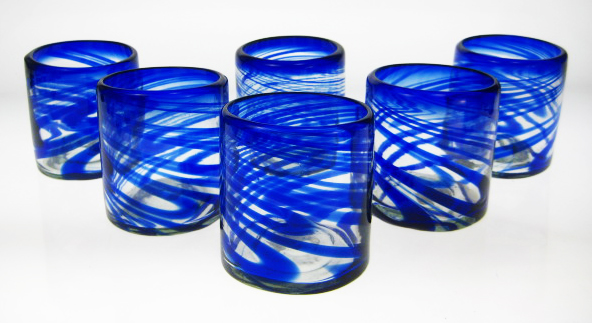 Blue Swirl Tumblers, Mexican Glasses, Made In Mexico With