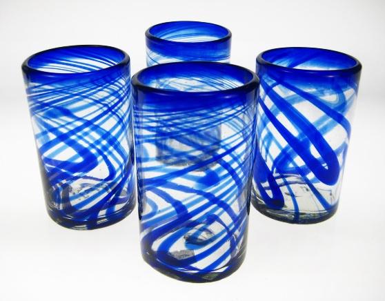 Drinking Glasses, Blue Swirl, 16oz, Set of 4, FREE SHIPPING