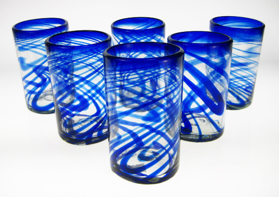 Drinking Glasses Blue Swirl, Set Of 6 (16oz