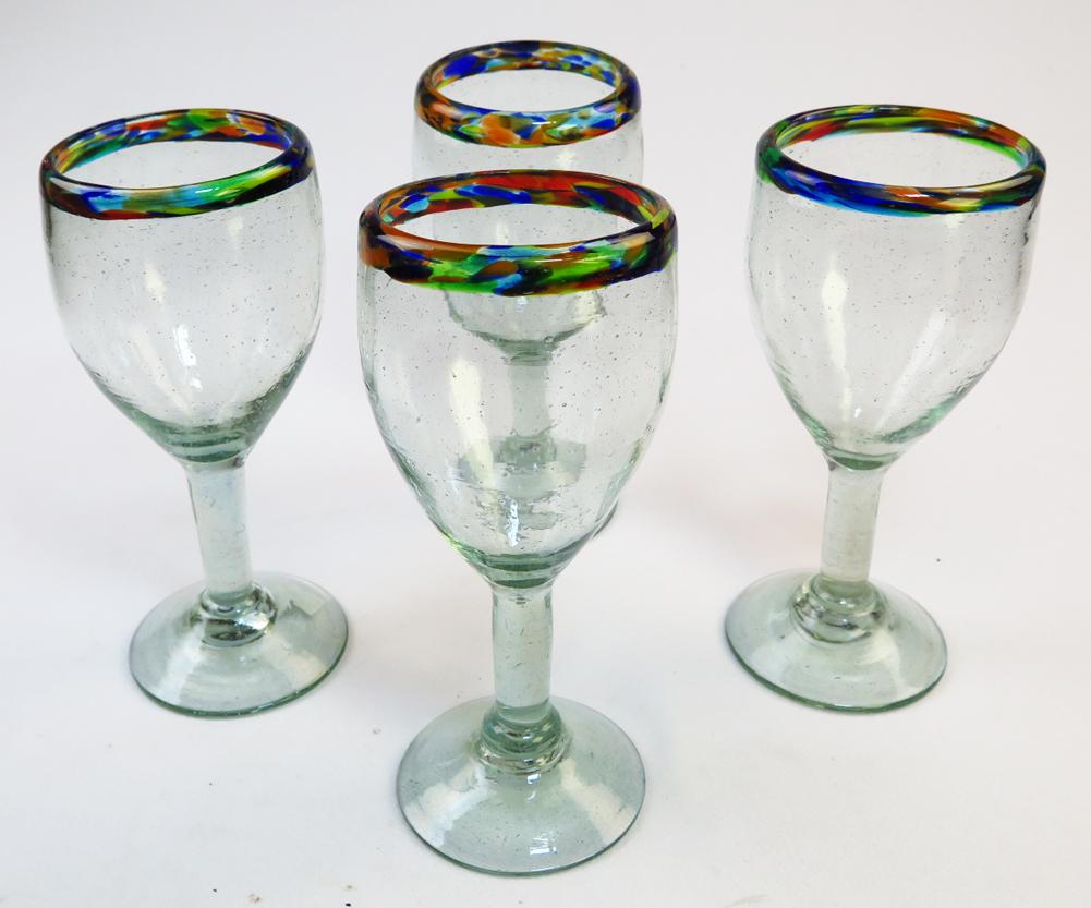 Wine Glass Hand Blown Confetti Rim 12oz Set Of 4, Made In